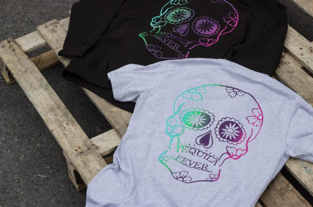 tequila fever, screen printing, t shirt printing in wales, screen printing in swansea, printed clothing, custom tshirts, streetwear printing, back flood press, clothing brand, merch printing, south wales